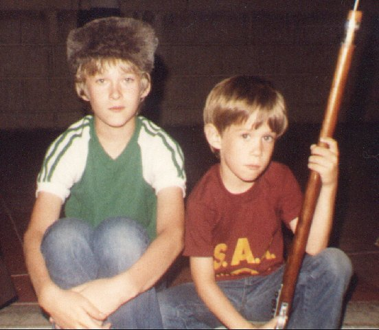 19820800a Bob with Coonskin Cap and David with Musket (8-82)
